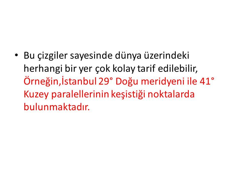 Bu çizgiler sayesinde dünya üzerindeki herhangi bir yer çok kolay tarif edilebilir, Örneğin,İstanbul 29° Doğu meridyeni ile 41° Kuzey paralellerinin k