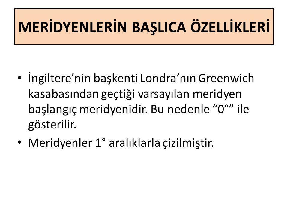 MERİDYENLERİN BAŞLICA ÖZELLİKLERİ İngiltere'nin başkenti Londra'nın Greenwich kasabasından geçtiği varsayılan meridyen başlangıç meridyenidir. Bu nede