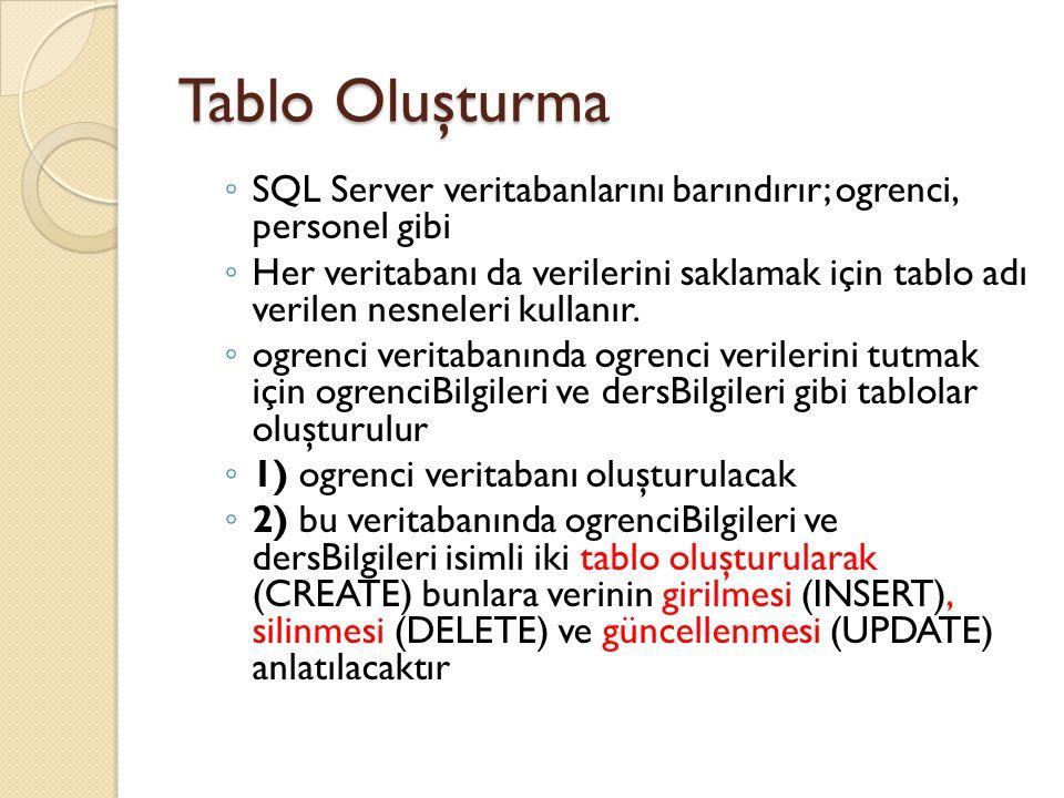 Tablo Oluşturma ◦ SQL Server veritabanlarını barındırır; ogrenci, personel gibi ◦ Her veritabanı da verilerini saklamak için tablo adı verilen nesnele