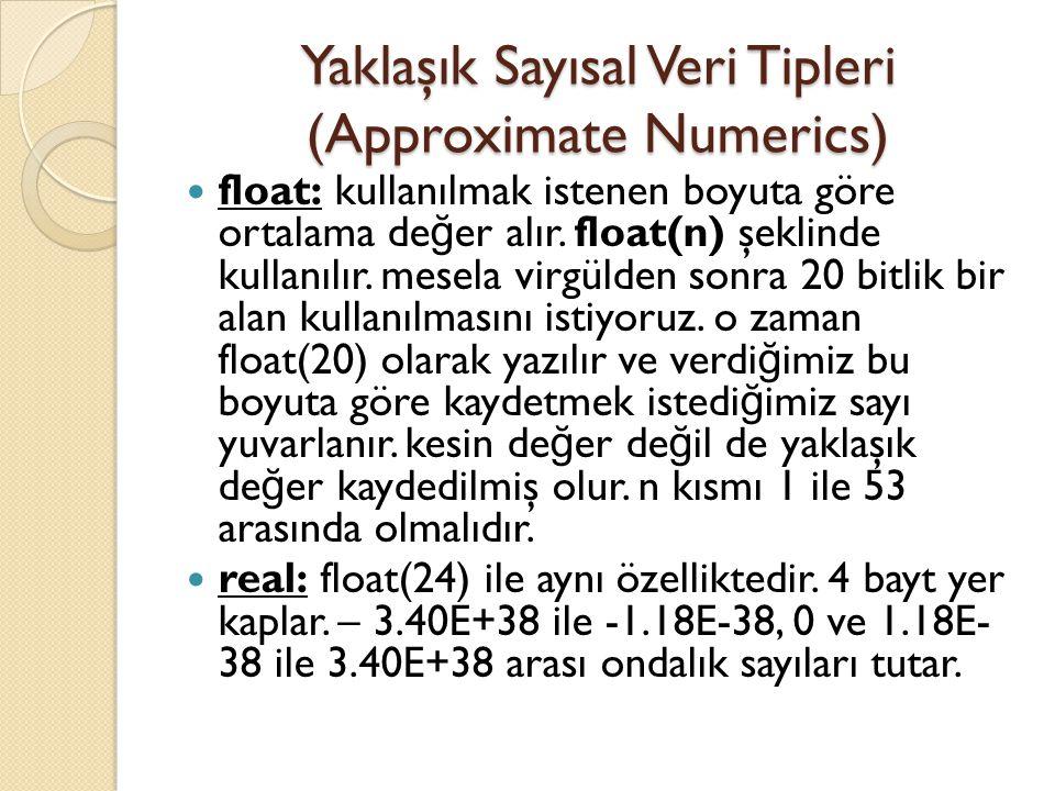 Yaklaşık Sayısal Veri Tipleri (Approximate Numerics) float: kullanılmak istenen boyuta göre ortalama de ğ er alır. float(n) şeklinde kullanılır. mesel
