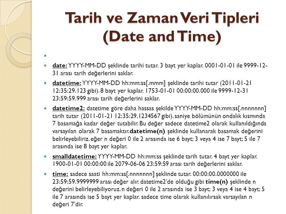Tarih ve Zaman Veri Tipleri (Date and Time) date: YYYY-MM-DD şeklinde tarihi tutar. 3 bayt yer kaplar. 0001-01-01 ile 9999-12- 31 arası tarih de ğ erl