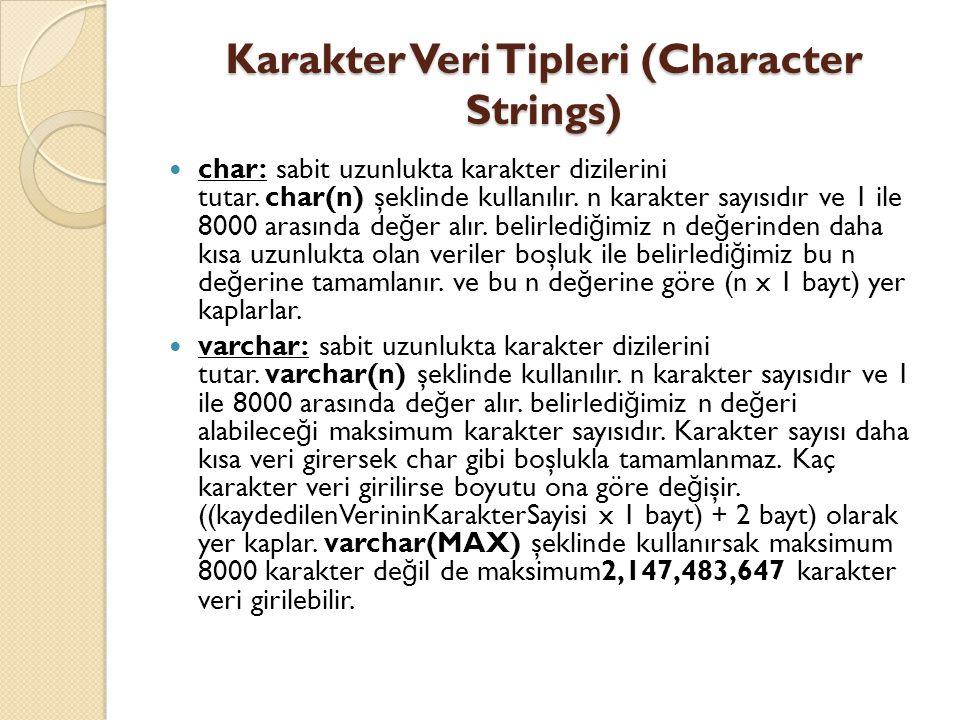Karakter Veri Tipleri (Character Strings) char: sabit uzunlukta karakter dizilerini tutar. char(n) şeklinde kullanılır. n karakter sayısıdır ve 1 ile