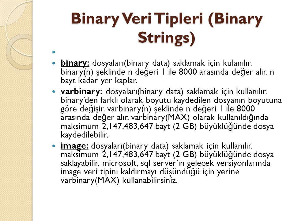 Binary Veri Tipleri (Binary Strings) binary: dosyaları(binary data) saklamak için kulanılır. binary(n) şeklinde n de ğ eri 1 ile 8000 arasında de ğ er