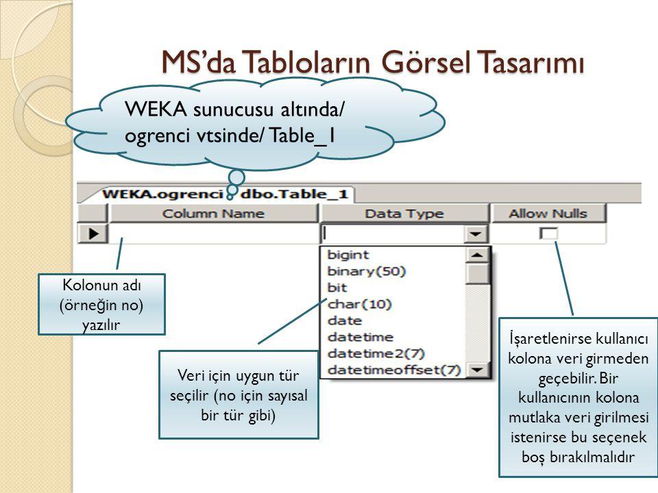 MS'da Tabloların Görsel Tasarımı WEKA sunucusu altında/ ogrenci vtsinde/ Table_1 Kolonun adı (örne ğ in no) yazılır Veri için uygun tür seçilir (no iç