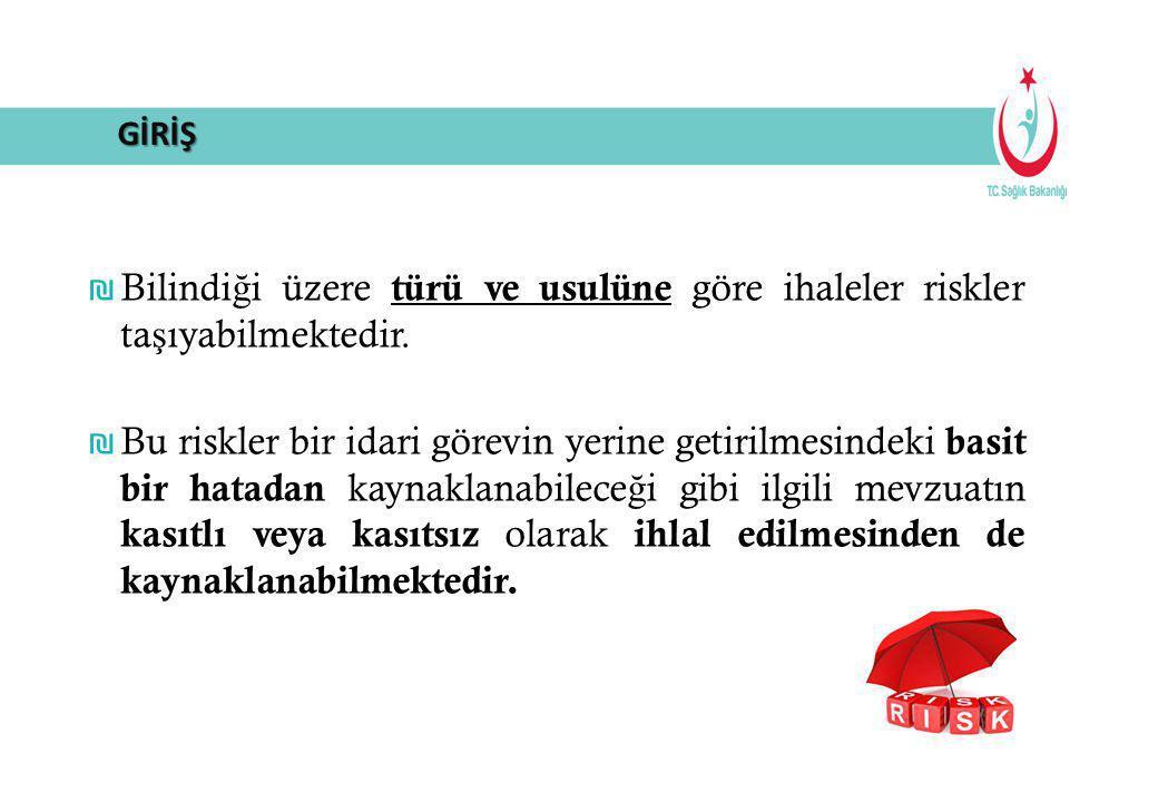 ₪ Bilindi ğ i üzere türü ve usulüne göre ihaleler riskler ta ş ıyabilmektedir. ₪ Bu riskler bir idari görevin yerine getirilmesindeki basit bir hatada