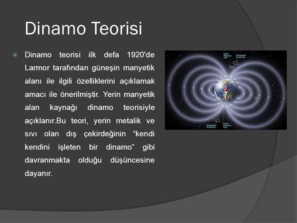 Dinamo Teorisi  Dinamo teorisi ilk defa 1920'de Larmor tarafından güneşin manyetik alanı ile ilgili özelliklerini açıklamak amacı ile önerilmiştir. Y