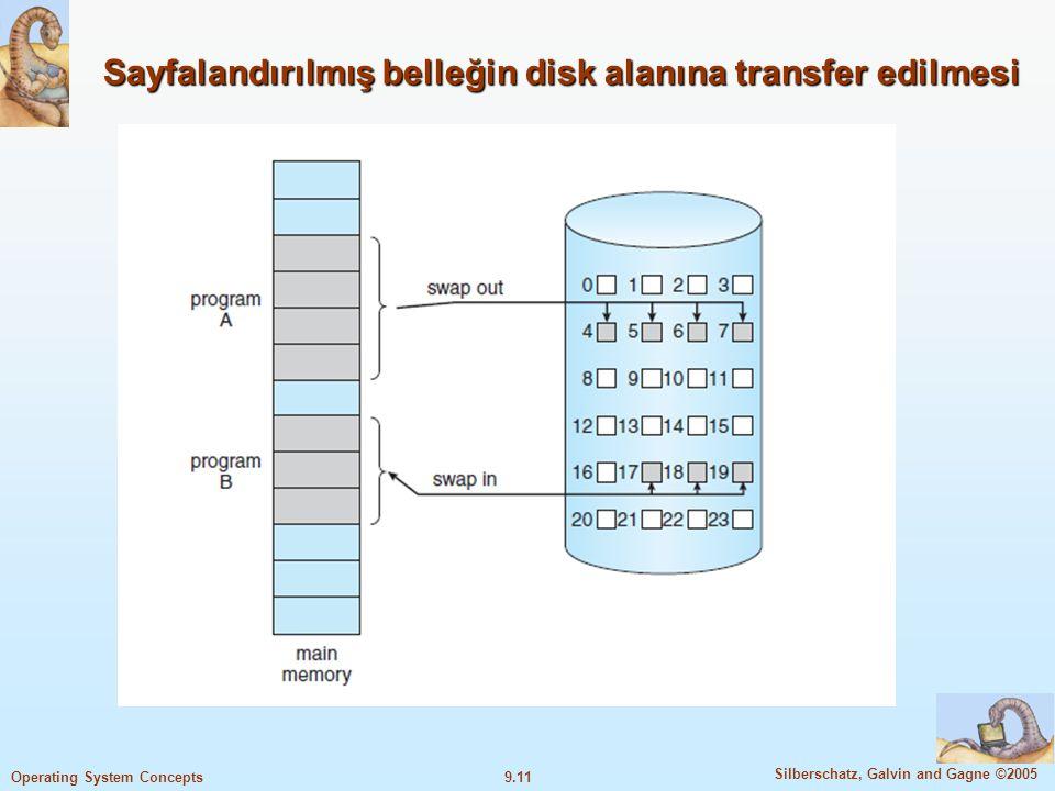 9.12 Silberschatz, Galvin and Gagne ©2005 Operating System Concepts Valid-Invalid Bit Sayfalandırıcı kullanımı sırasında bellekteki ve diskteki sayfaları birbirinden ayırmak gerekir.