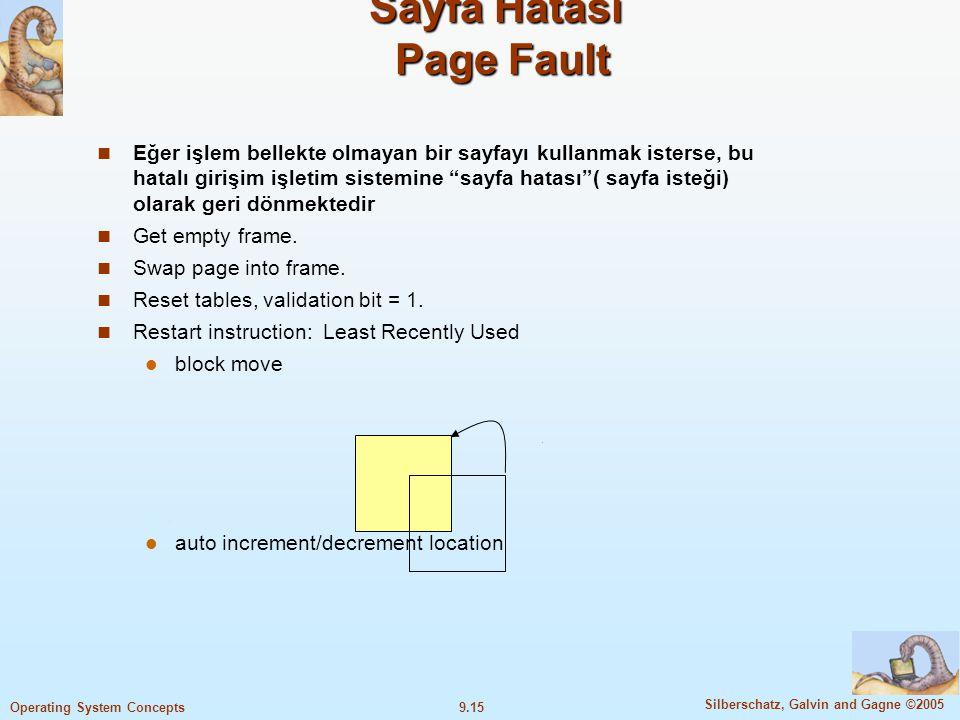 9.16 Silberschatz, Galvin and Gagne ©2005 Operating System Concepts Sayfa Hatasında Yapılan İşlemler 1-İşlem için tablo kontrol edilerek, bu referansın geçerli veya geçersiz bir bellek erişimi olup olmadığı öğrenilir.