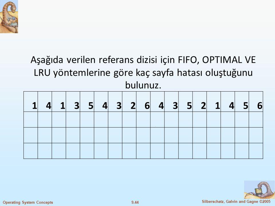 9.45 Silberschatz, Galvin and Gagne ©2005 Operating System Concepts FIFO ÇÖZÜM 14135432643521456 1111 5 5544422255 4 4 442223331116 333666555444