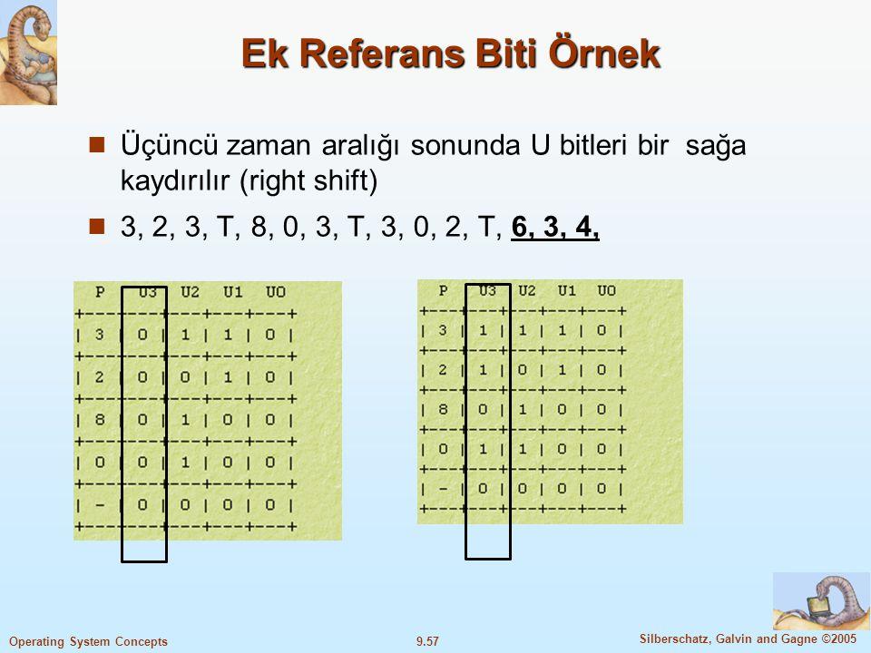9.58 Silberschatz, Galvin and Gagne ©2005 Operating System Concepts Ek Referans Biti Örnek 4, 3, 2, 3, T, 8, 0, 3, T, 3, 0, 2, T, 6, 3, 4, Ek referans bitlerinin toplam tamsayı değeri en küçük olan ile yer değişikliği yapılır.