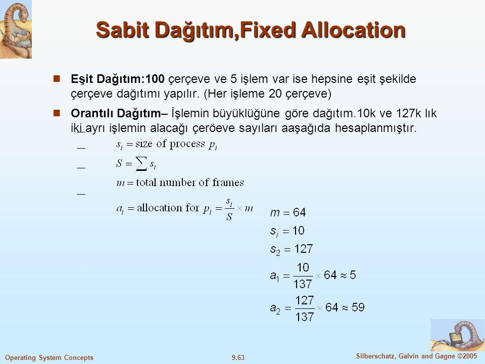 9.64 Silberschatz, Galvin and Gagne ©2005 Operating System Concepts Öncelikli Dağıtım,Priority Allocation Orantılı dağıtım şeklini büyüklüğe göre değil, öncelik değerine göre yapmaktır.