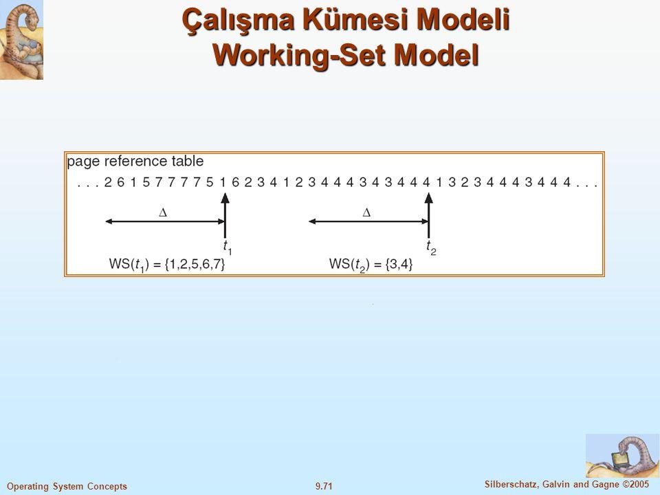 9.72 Silberschatz, Galvin and Gagne ©2005 Operating System Concepts 72 Working Set-Thrashing Working Set-Thrashing Thrashing olayını engellemek için, işleme ihtiyacı olduğu kadar çerçeve temin etmek gerekir İşletim sistemi her prosesi izler ve onların working set ölçülerine göre gereken çerçeveleri tahsis eder.