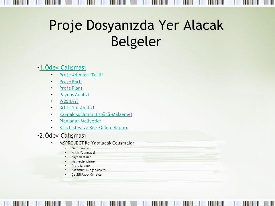 Proje Dosyanızda Yer Alacak Belgeler 1.Ödev Çalışması Proje Adımları-Teklif Proje Kartı Proje Planı Paydaş Analizi WBS(İAY) Kritik Yol Analizi Kaynak