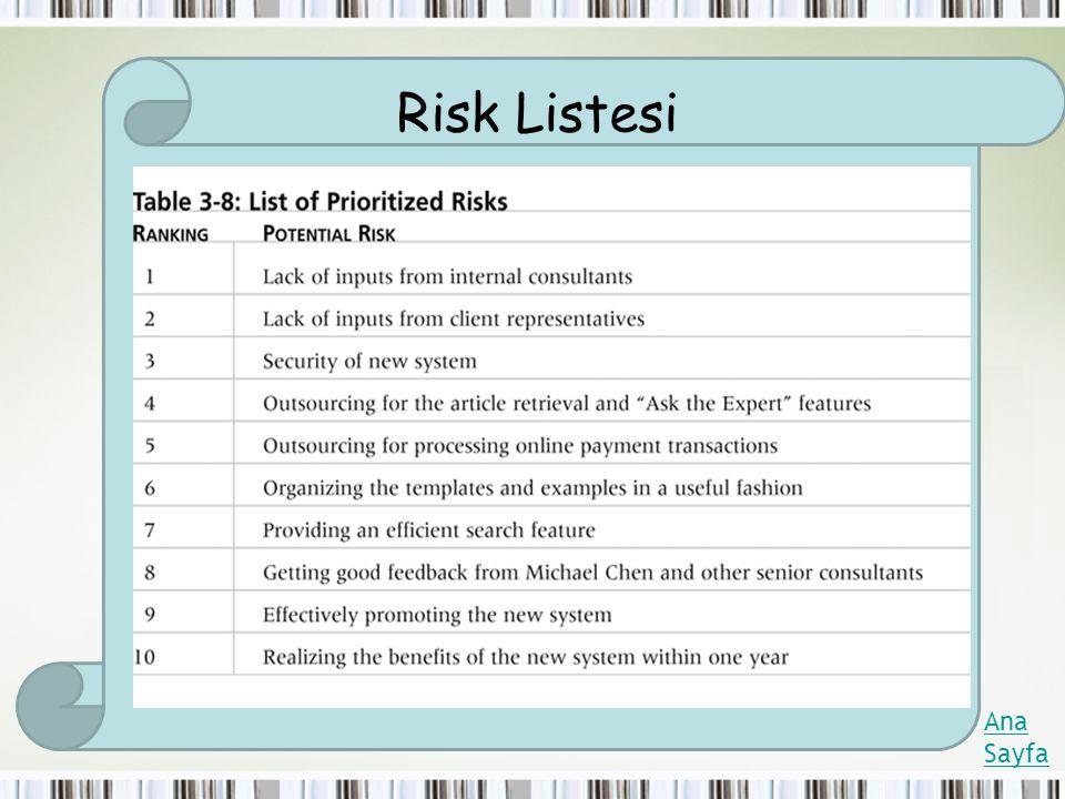Risk Listesi Ana Sayfa