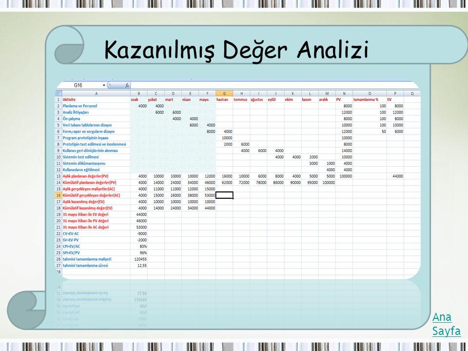 Kazanılmış Değer Analizi Ana Sayfa