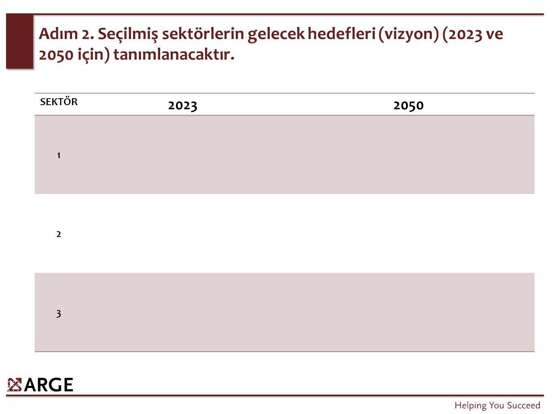 Adım 2. Seçilmiş sektörlerin gelecek hedefleri (vizyon) (2023 ve 2050 için) tanımlanacaktır.