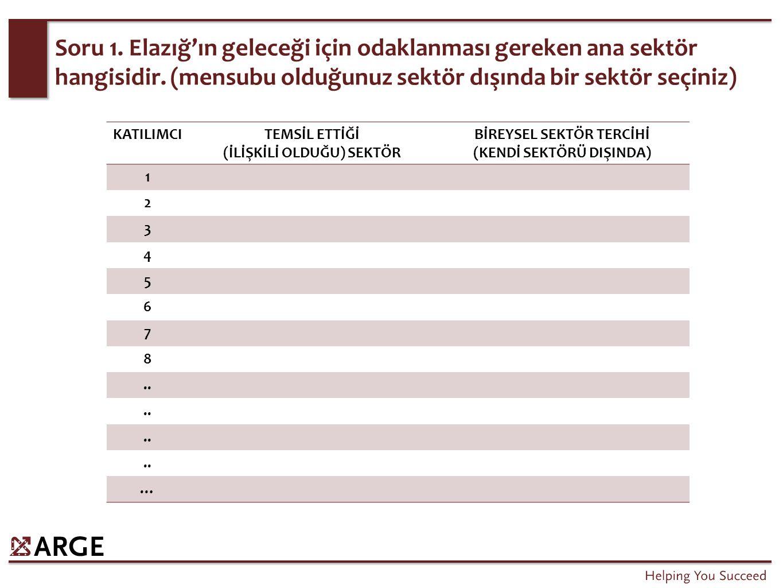 Soru 1. Elazığ'ın geleceği için odaklanması gereken ana sektör hangisidir.