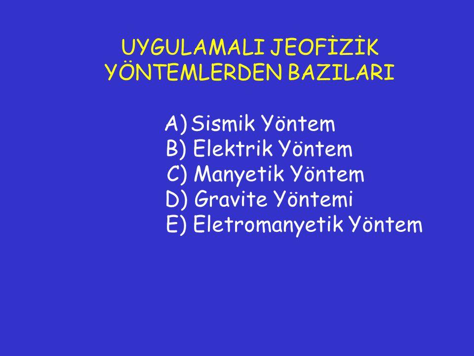 UYGULAMALI JEOFİZİK YÖNTEMLERDEN BAZILARI A)Sismik Yöntem B) Elektrik Yöntem C) Manyetik Yöntem D) Gravite Yöntemi E) Eletromanyetik Yöntem