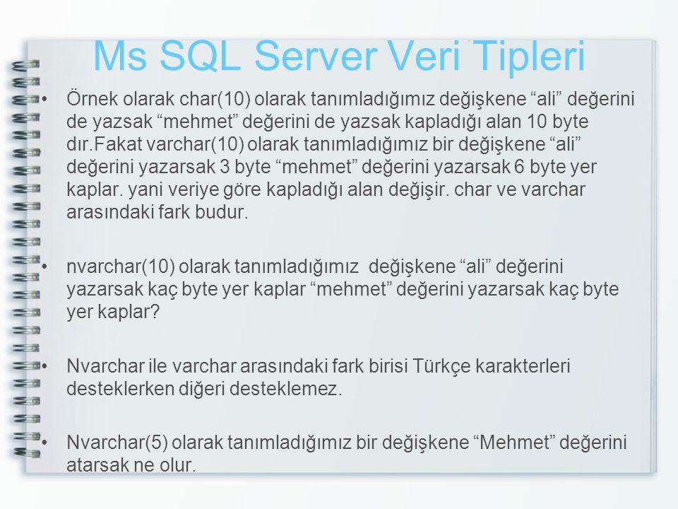 Ms SQL Server Veri Tipleri Örnek olarak char(10) olarak tanımladığımız değişkene ali değerini de yazsak mehmet değerini de yazsak kapladığı alan 10 byte dır.Fakat varchar(10) olarak tanımladığımız bir değişkene ali değerini yazarsak 3 byte mehmet değerini yazarsak 6 byte yer kaplar.