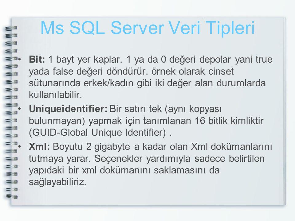 Ms SQL Server Veri Tipleri Bit: 1 bayt yer kaplar. 1 ya da 0 değeri depolar yani true yada false değeri döndürür. örnek olarak cinset sütunarında erke