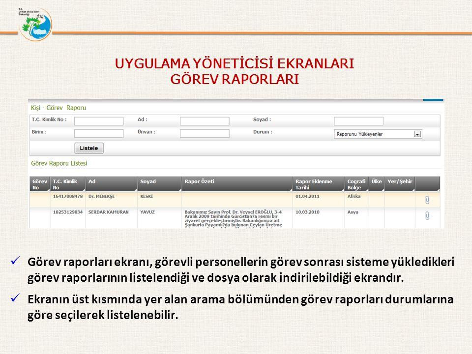 Görev raporları ekranı, görevli personellerin görev sonrası sisteme yükledikleri görev raporlarının listelendiği ve dosya olarak indirilebildiği ekrandır.