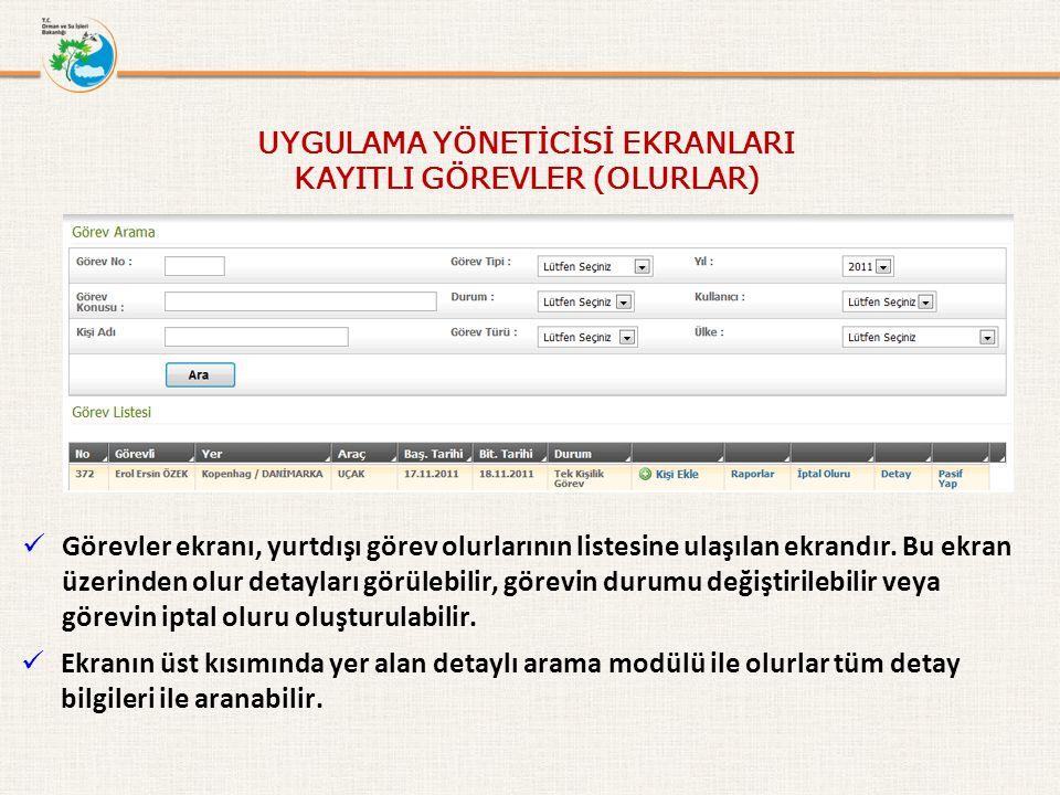 Görevler ekranı, yurtdışı görev olurlarının listesine ulaşılan ekrandır.