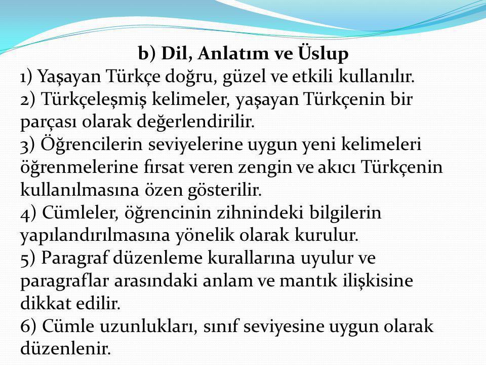 b) Dil, Anlatım ve Üslup 1) Yaşayan Türkçe doğru, güzel ve etkili kullanılır. 2) Türkçeleşmiş kelimeler, yaşayan Türkçenin bir parçası olarak değerlen