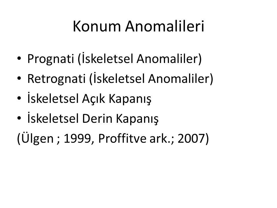 Konum Anomalileri Prognati (İskeletsel Anomaliler) Retrognati (İskeletsel Anomaliler) İskeletsel Açık Kapanış İskeletsel Derin Kapanış (Ülgen ; 1999,