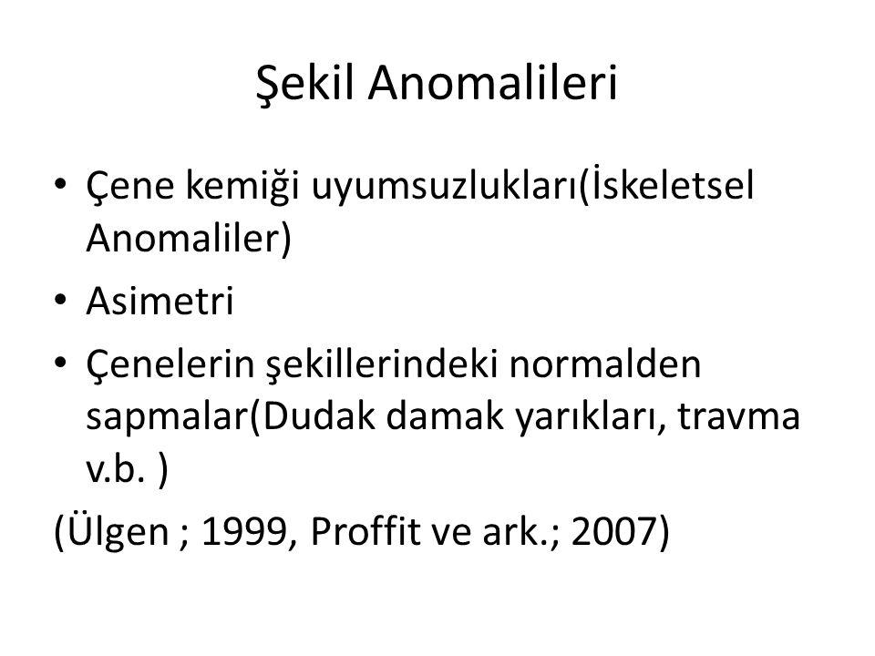Şekil Anomalileri Çene kemiği uyumsuzlukları(İskeletsel Anomaliler) Asimetri Çenelerin şekillerindeki normalden sapmalar(Dudak damak yarıkları, travma
