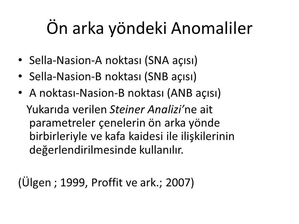 Ön arka yöndeki Anomaliler Sella-Nasion-A noktası (SNA açısı) Sella-Nasion-B noktası (SNB açısı) A noktası-Nasion-B noktası (ANB açısı) Yukarıda veril