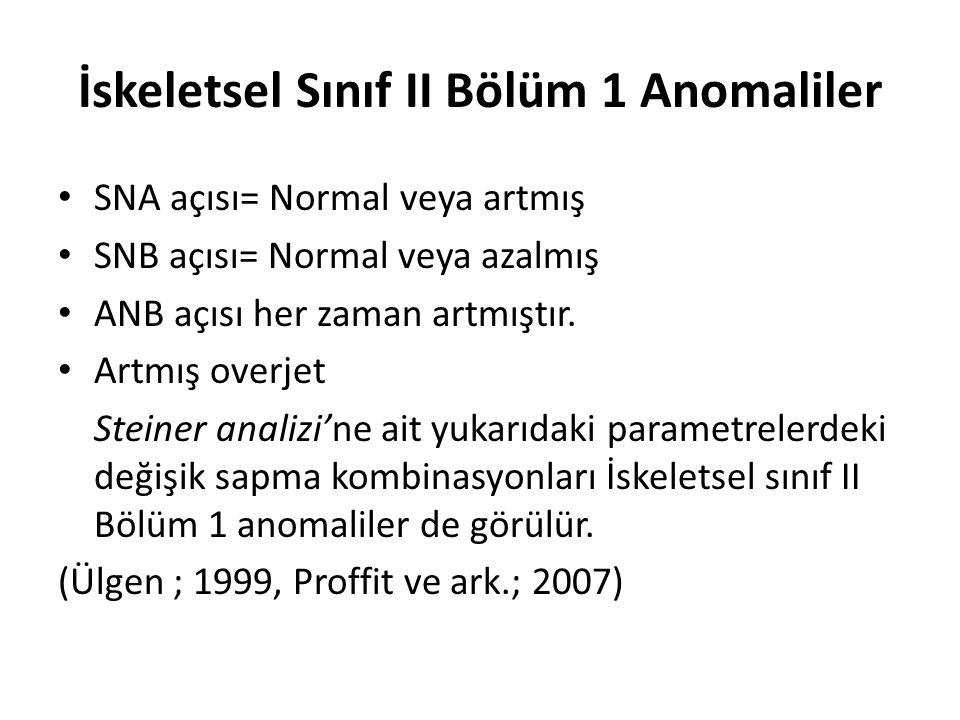 İskeletsel Sınıf II Bölüm 1 Anomaliler SNA açısı= Normal veya artmış SNB açısı= Normal veya azalmış ANB açısı her zaman artmıştır. Artmış overjet Stei
