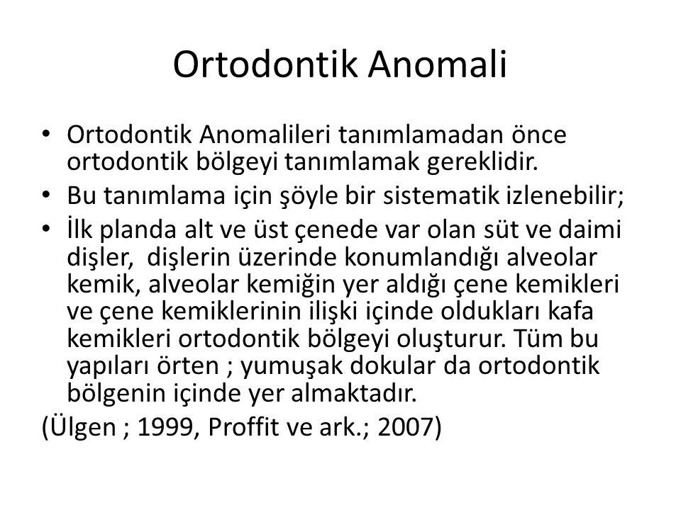 Ortodontik Anomali Ortodontik Anomalileri tanımlamadan önce ortodontik bölgeyi tanımlamak gereklidir. Bu tanımlama için şöyle bir sistematik izlenebil