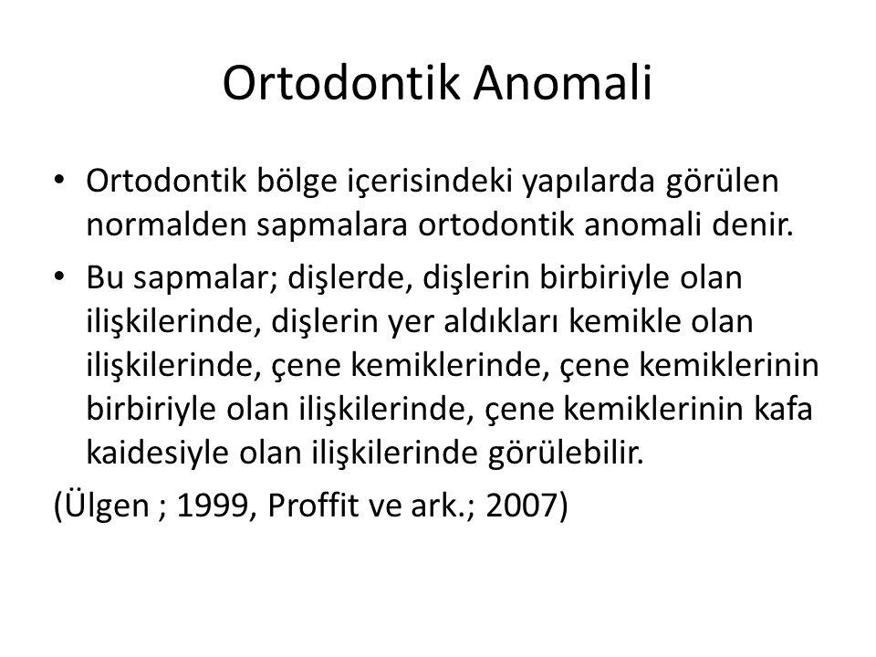 Ortodontik Anomali Ortodontik bölge içerisindeki yapılarda görülen normalden sapmalara ortodontik anomali denir. Bu sapmalar; dişlerde, dişlerin birbi