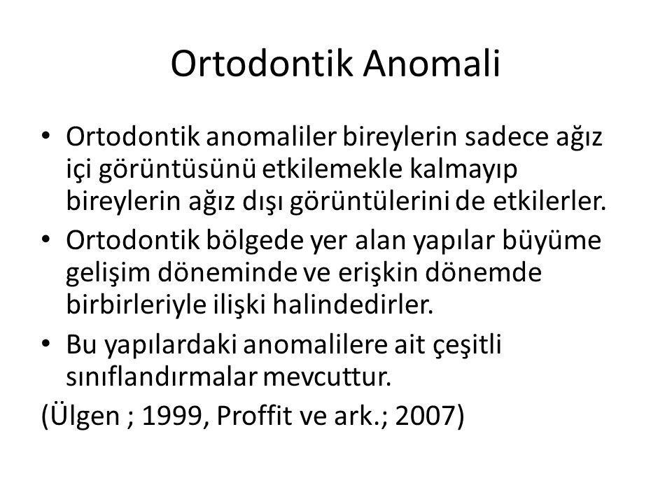 Ortodontik Anomali Ortodontik anomaliler bireylerin sadece ağız içi görüntüsünü etkilemekle kalmayıp bireylerin ağız dışı görüntülerini de etkilerler.