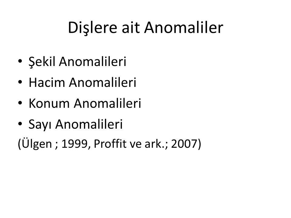 Dişlere ait Anomaliler Şekil Anomalileri Hacim Anomalileri Konum Anomalileri Sayı Anomalileri (Ülgen ; 1999, Proffit ve ark.; 2007)