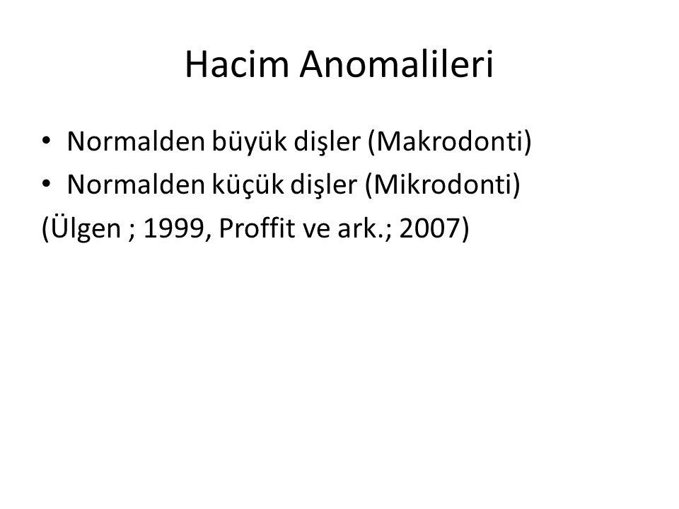 Hacim Anomalileri Normalden büyük dişler (Makrodonti) Normalden küçük dişler (Mikrodonti) (Ülgen ; 1999, Proffit ve ark.; 2007)