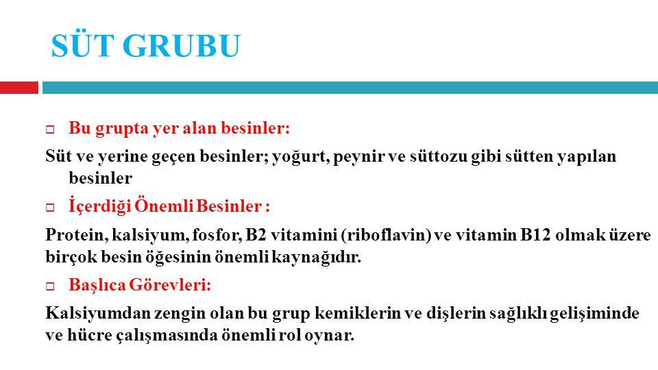 SÜT GRUBU  Bu grupta yer alan besinler: Süt ve yerine geçen besinler; yoğurt, peynir ve süttozu gibi sütten yapılan besinler  İçerdiği Önemli Besinler : Protein, kalsiyum, fosfor, B2 vitamini (riboflavin) ve vitamin B12 olmak üzere birçok besin öğesinin önemli kaynağıdır.