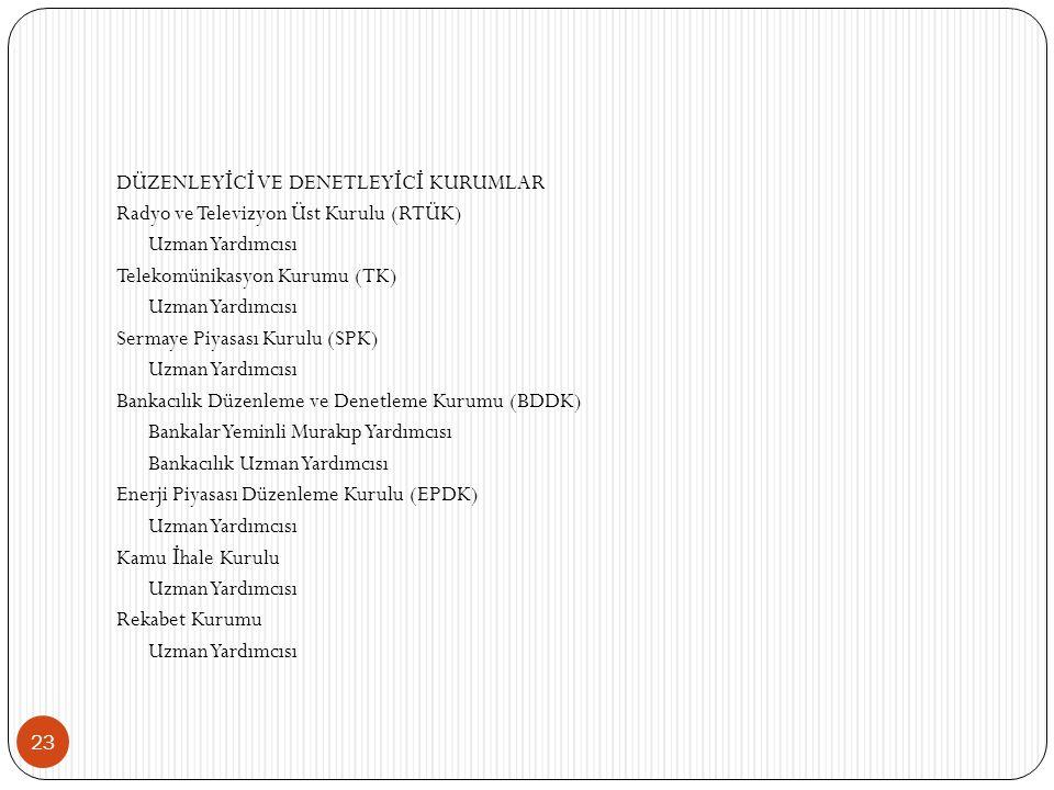 23 DÜZENLEY İ C İ VE DENETLEY İ C İ KURUMLAR Radyo ve Televizyon Üst Kurulu (RTÜK) Uzman Yardımcısı Telekomünikasyon Kurumu (TK) Uzman Yardımcısı Sermaye Piyasası Kurulu (SPK) Uzman Yardımcısı Bankacılık Düzenleme ve Denetleme Kurumu (BDDK) Bankalar Yeminli Murakıp Yardımcısı Bankacılık Uzman Yardımcısı Enerji Piyasası Düzenleme Kurulu (EPDK) Uzman Yardımcısı Kamu İ hale Kurulu Uzman Yardımcısı Rekabet Kurumu Uzman Yardımcısı