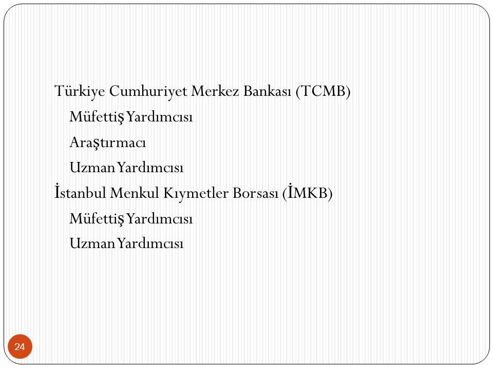 24 Türkiye Cumhuriyet Merkez Bankası (TCMB) Müfetti ş Yardımcısı Ara ş tırmacı Uzman Yardımcısı İ stanbul Menkul Kıymetler Borsası ( İ MKB) Müfetti ş Yardımcısı Uzman Yardımcısı