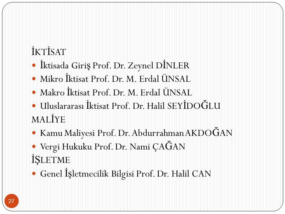 27 İ KT İ SAT İ ktisada Giri ş Prof.Dr. Zeynel D İ NLER Mikro İ ktisat Prof.