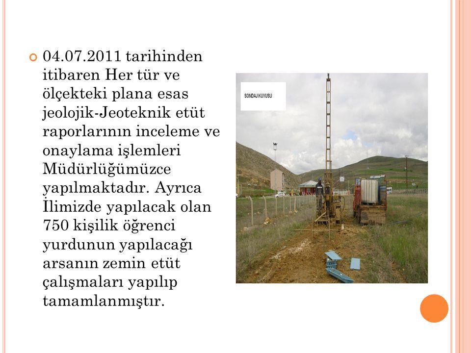 04.07.2011 tarihinden itibaren Her tür ve ölçekteki plana esas jeolojik-Jeoteknik etüt raporlarının inceleme ve onaylama işlemleri Müdürlüğümüzce yapı