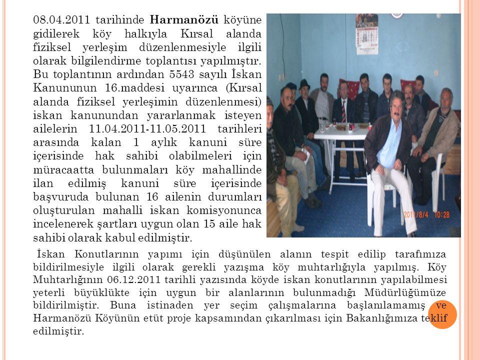 02.08.2011 tarihinde Gez köyüne gidilerek köy halkıyla Kırsal alanda fiziksel yerleşim düzenlenmesiyle ilgili olarak bilgilendirme toplantısı yapılmıştır.