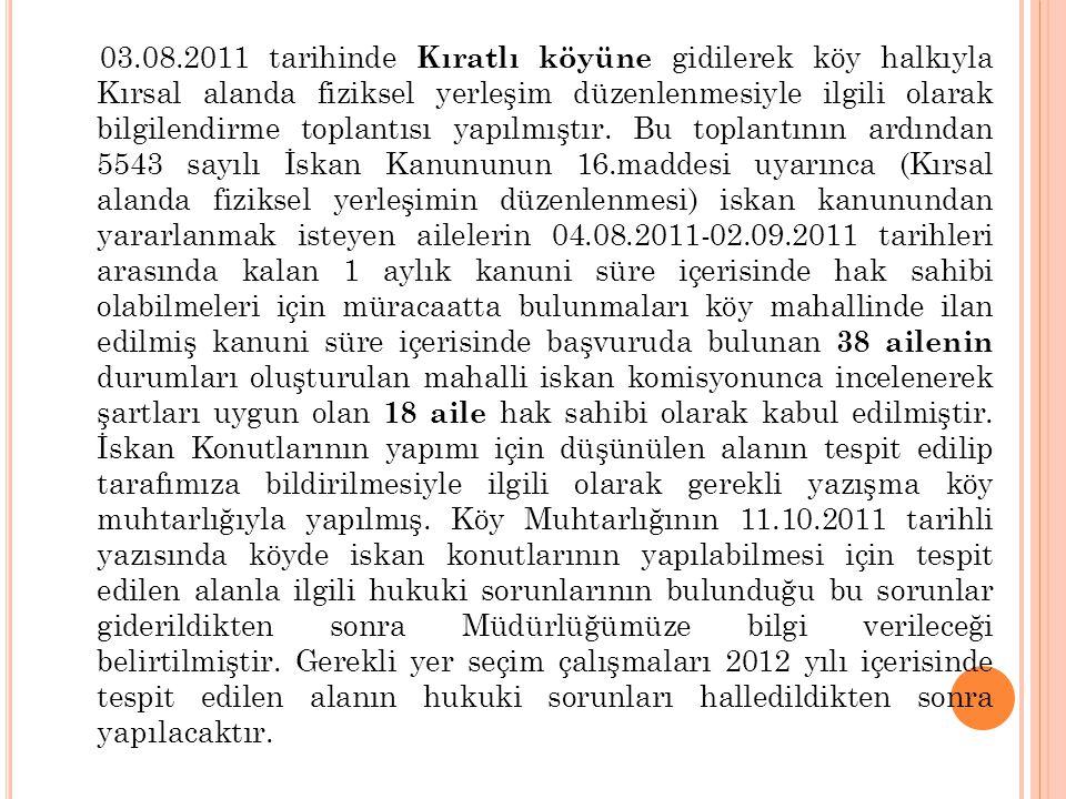 03.08.2011 tarihinde Kıratlı köyüne gidilerek köy halkıyla Kırsal alanda fiziksel yerleşim düzenlenmesiyle ilgili olarak bilgilendirme toplantısı yapı