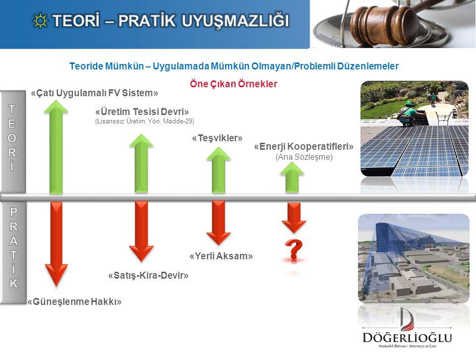 Teoride Mümkün – Uygulamada Mümkün Olmayan/Problemli Düzenlemeler Öne Çıkan Örnekler «Güneşlenme Hakkı» «Çatı Uygulamalı FV Sistem» «Üretim Tesisi Dev