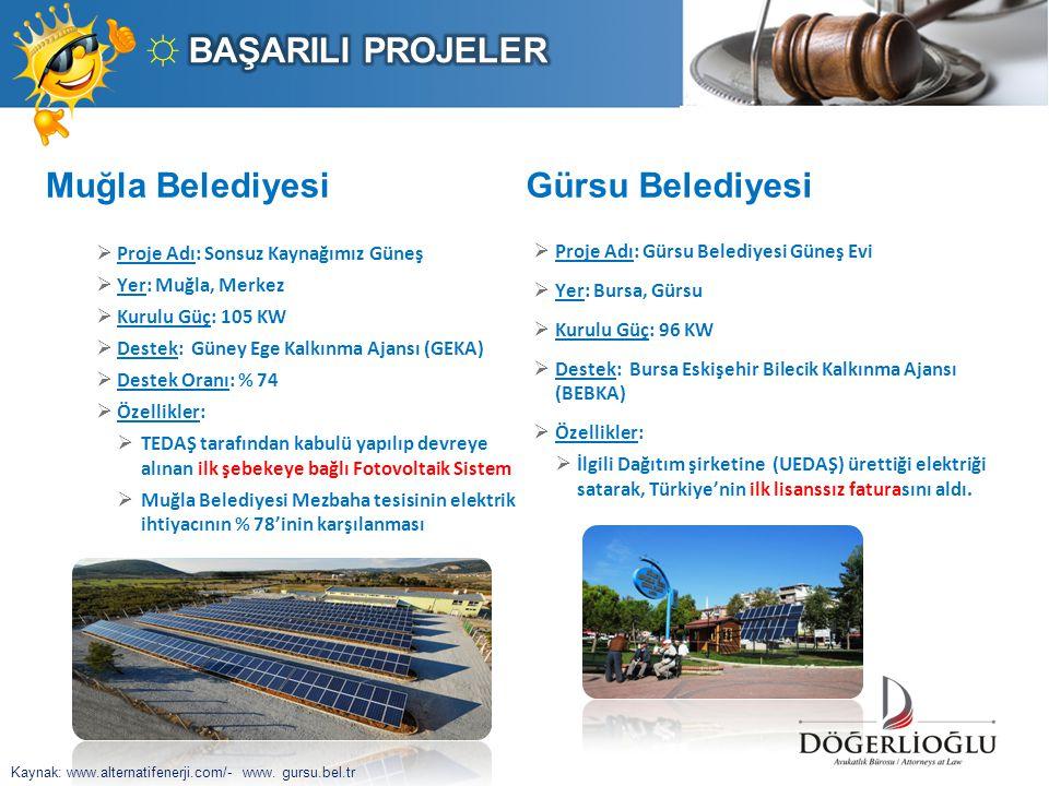 Muğla Belediyesi  Proje Adı: Sonsuz Kaynağımız Güneş  Yer: Muğla, Merkez  Kurulu Güç: 105 KW  Destek: Güney Ege Kalkınma Ajansı (GEKA)  Destek Or