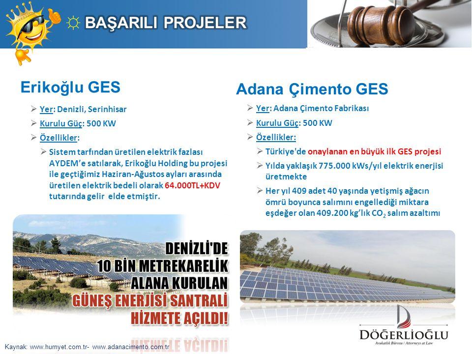 Erikoğlu GES  Yer: Denizli, Serinhisar  Kurulu Güç: 500 KW  Özellikler:  Sistem tarfından üretilen elektrik fazlası AYDEM'e satılarak, Erikoğlu Ho