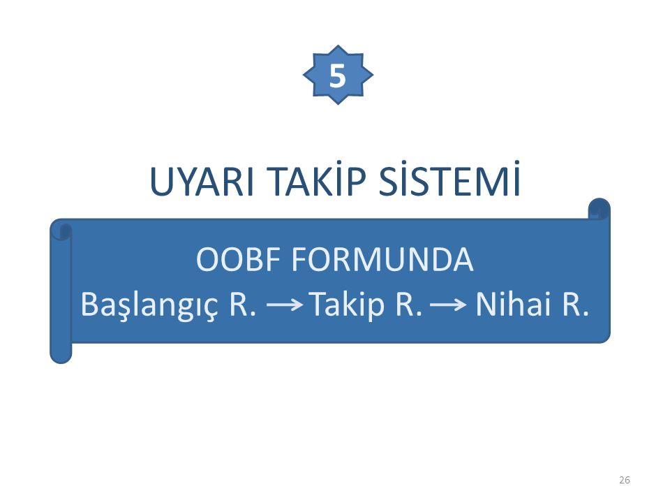 UYARI TAKİP SİSTEMİ 26 OOBF FORMUNDA Başlangıç R. Takip R. Nihai R. 5
