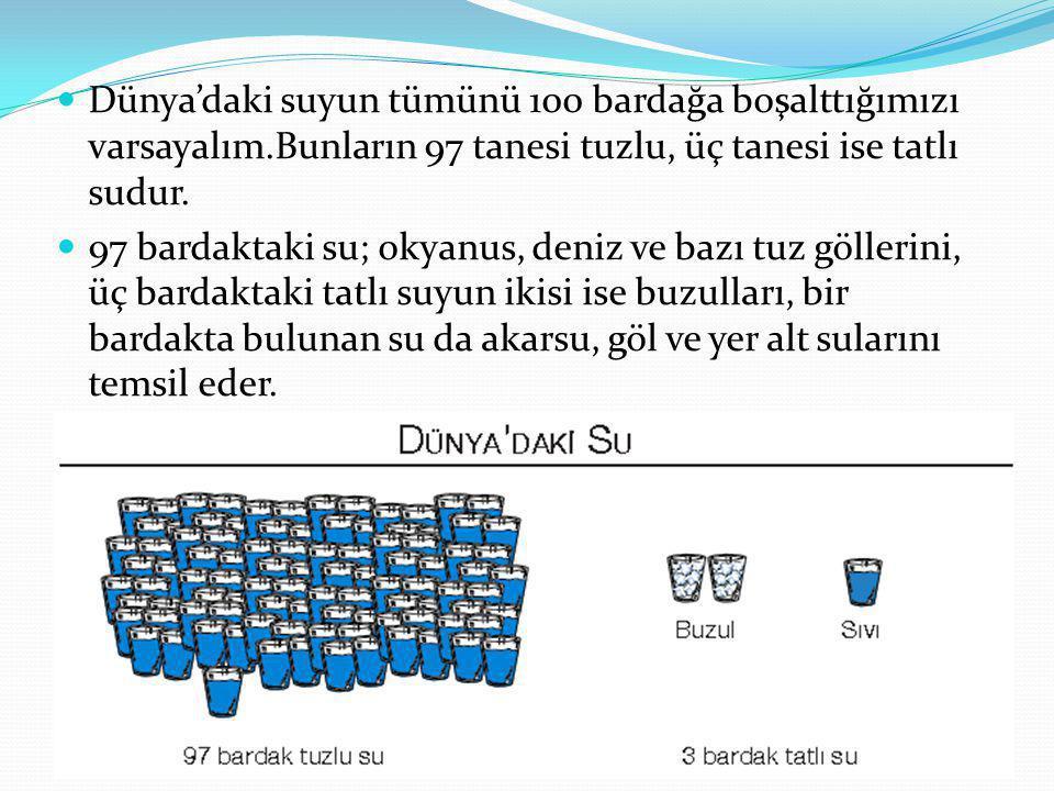 Dünya'daki suyun tümünü 100 bardağa boşalttığımızı varsayalım.Bunların 97 tanesi tuzlu, üç tanesi ise tatlı sudur. 97 bardaktaki su; okyanus, deniz ve