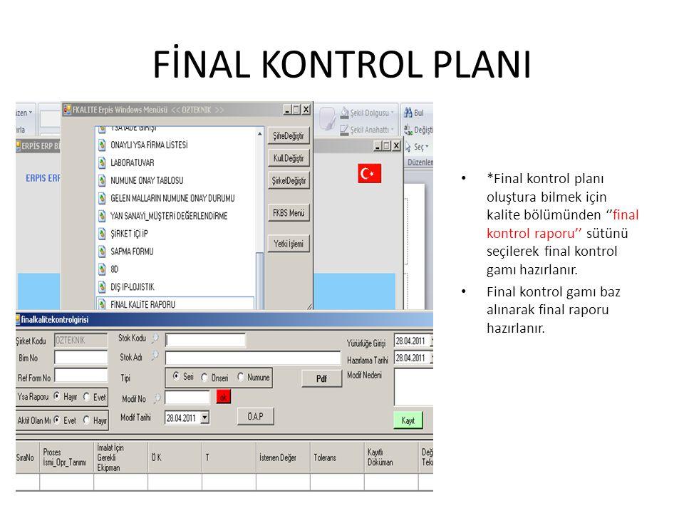 FİNAL KONTROL PLANI *Final kontrol planı oluştura bilmek için kalite bölümünden ''final kontrol raporu'' sütünü seçilerek final kontrol gamı hazırlanı