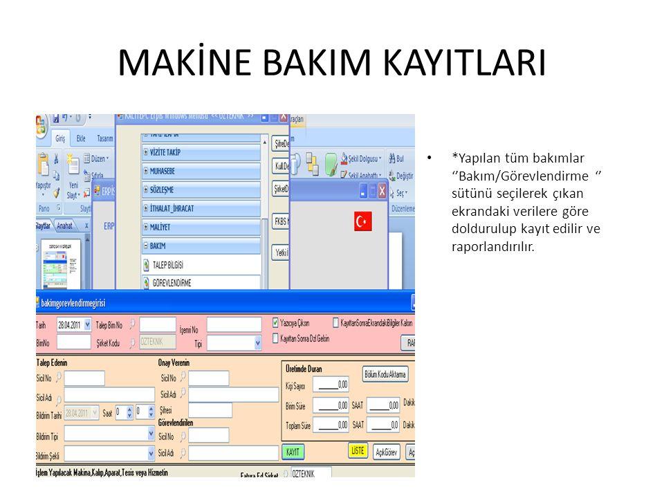 MAKİNE BAKIM KAYITLARI *Yapılan tüm bakımlar ''Bakım/Görevlendirme '' sütünü seçilerek çıkan ekrandaki verilere göre doldurulup kayıt edilir ve raporl